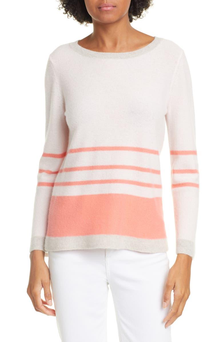 KINROSS Stripe Crewneck Cashmere Sweater, Main, color, 696