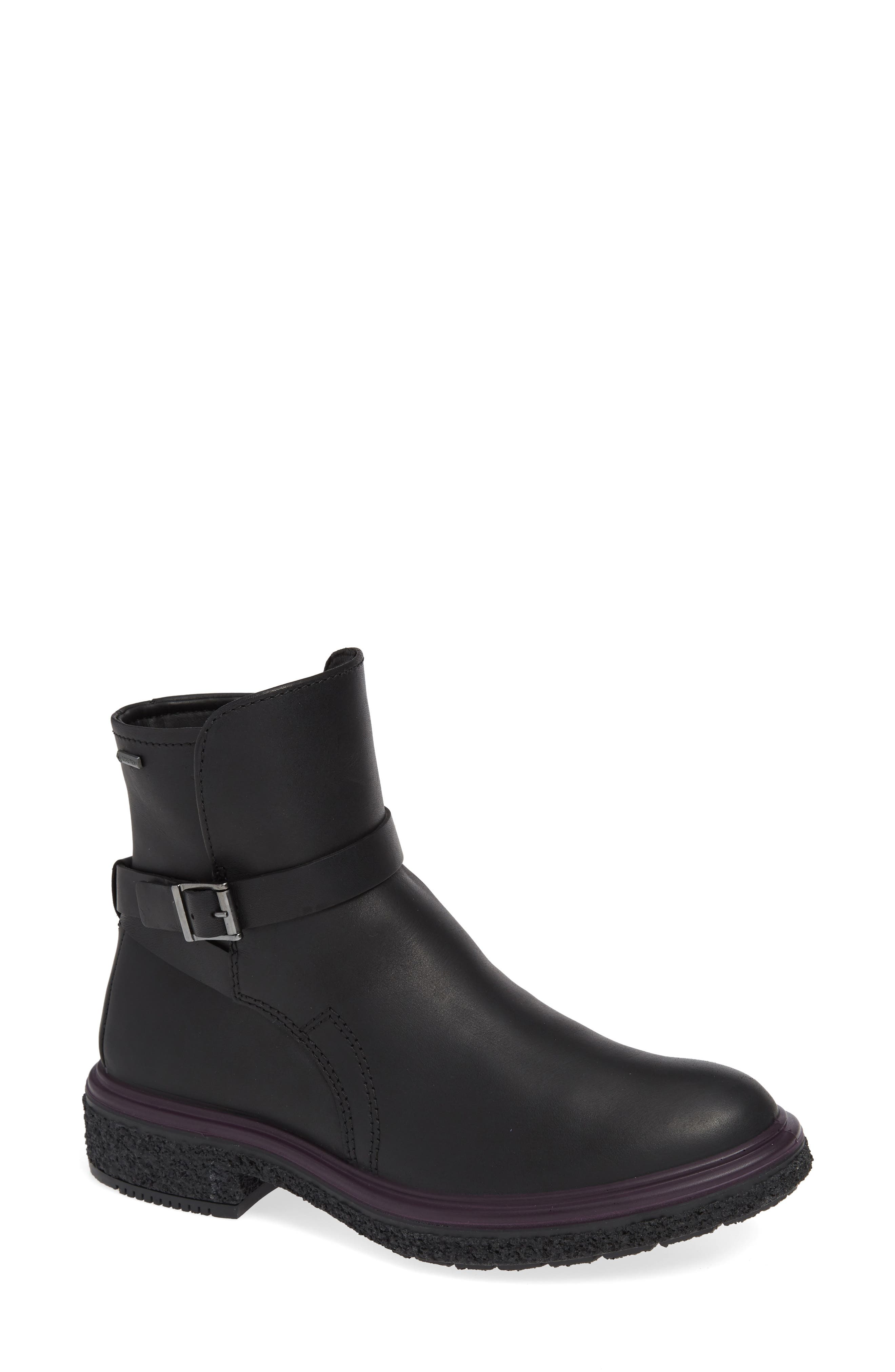 ,                             Crepetray GTX Waterproof Bootie,                             Main thumbnail 1, color,                             BLACK LEATHER