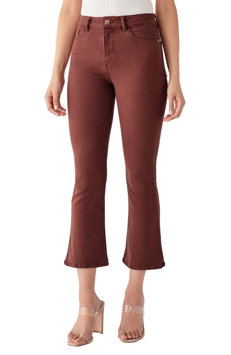 DL1961 x Marianna Hewitt Bridget Instasculpt High Waist Crop Bootcut Jeans, Main, color, REDWOOD