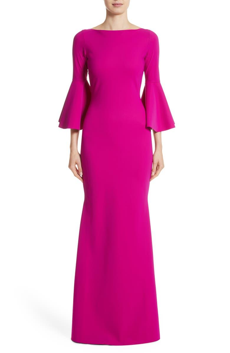 CHIARA BONI LA PETITE ROBE Iva Bell Sleeve Evening Dress, Main, color, CYCLAMEN/ MAGENTA