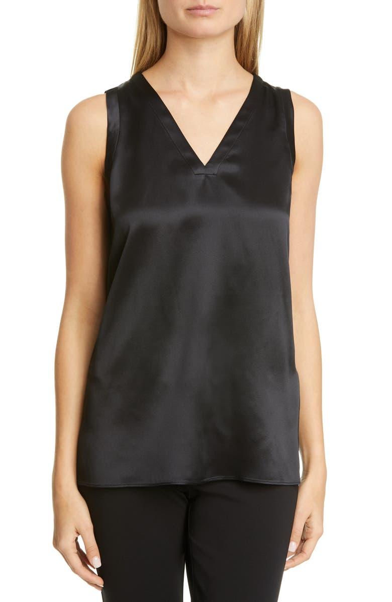 LAFAYETTE 148 NEW YORK Gretchen Reversible Silk Charmeuse Blouse, Main, color, BLACK
