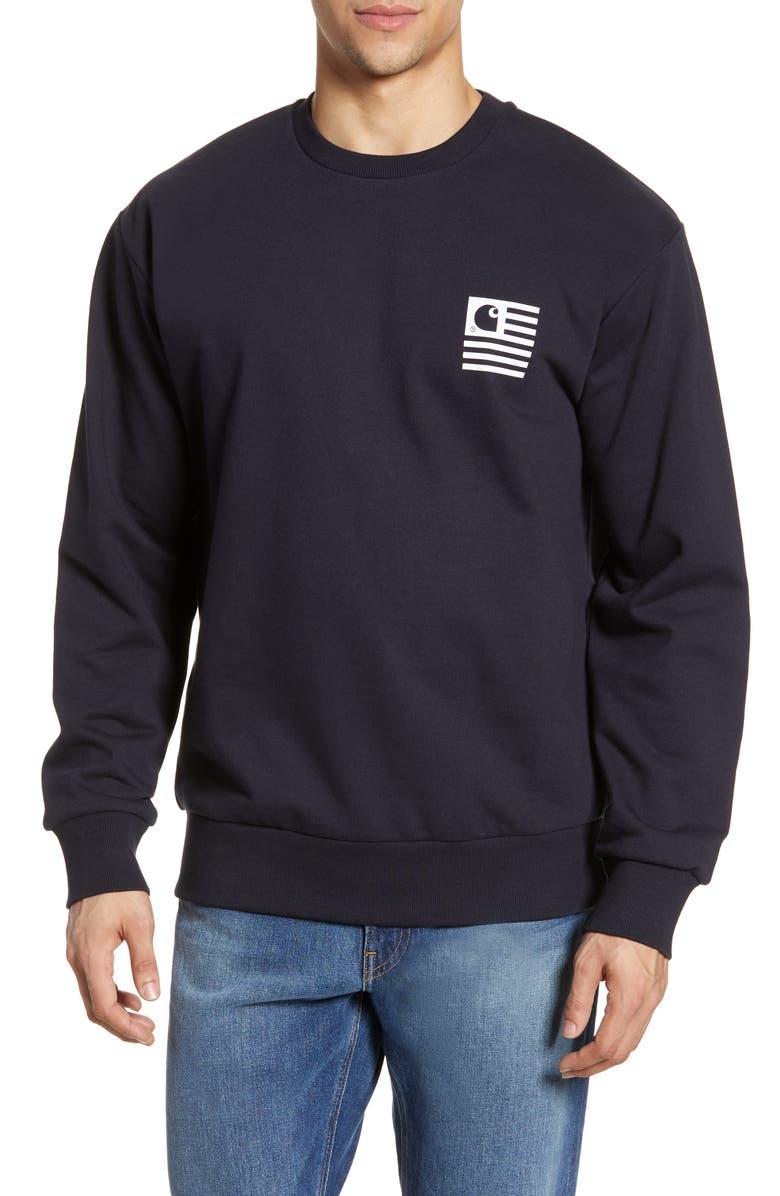 CARHARTT WORK IN PROGRESS State Patch Crewneck Sweatshirt, Main, color, DARK NAVY