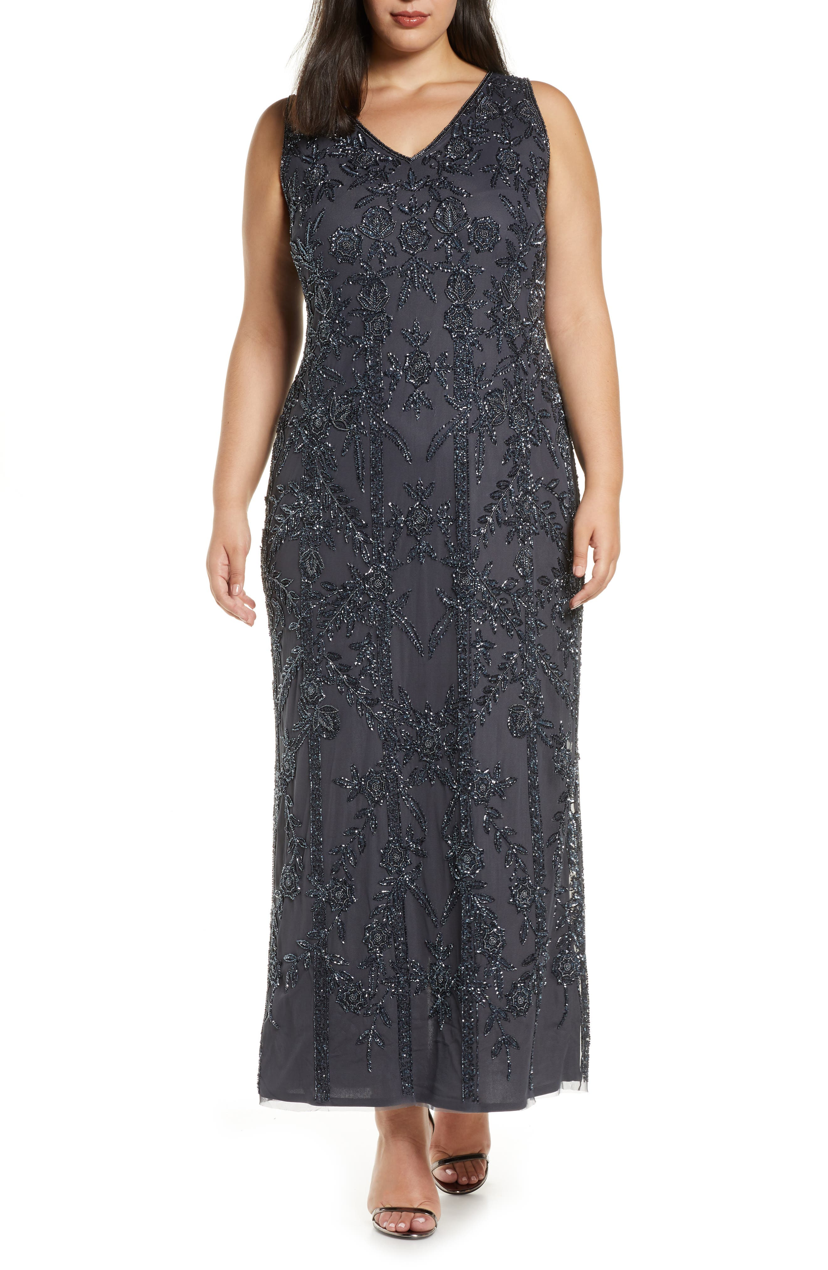 1920s Plus Size Flapper Dresses, Gatsby Dresses, Flapper Costumes Plus Size Womens Pisarro Nights Beaded Mesh Gown $248.00 AT vintagedancer.com