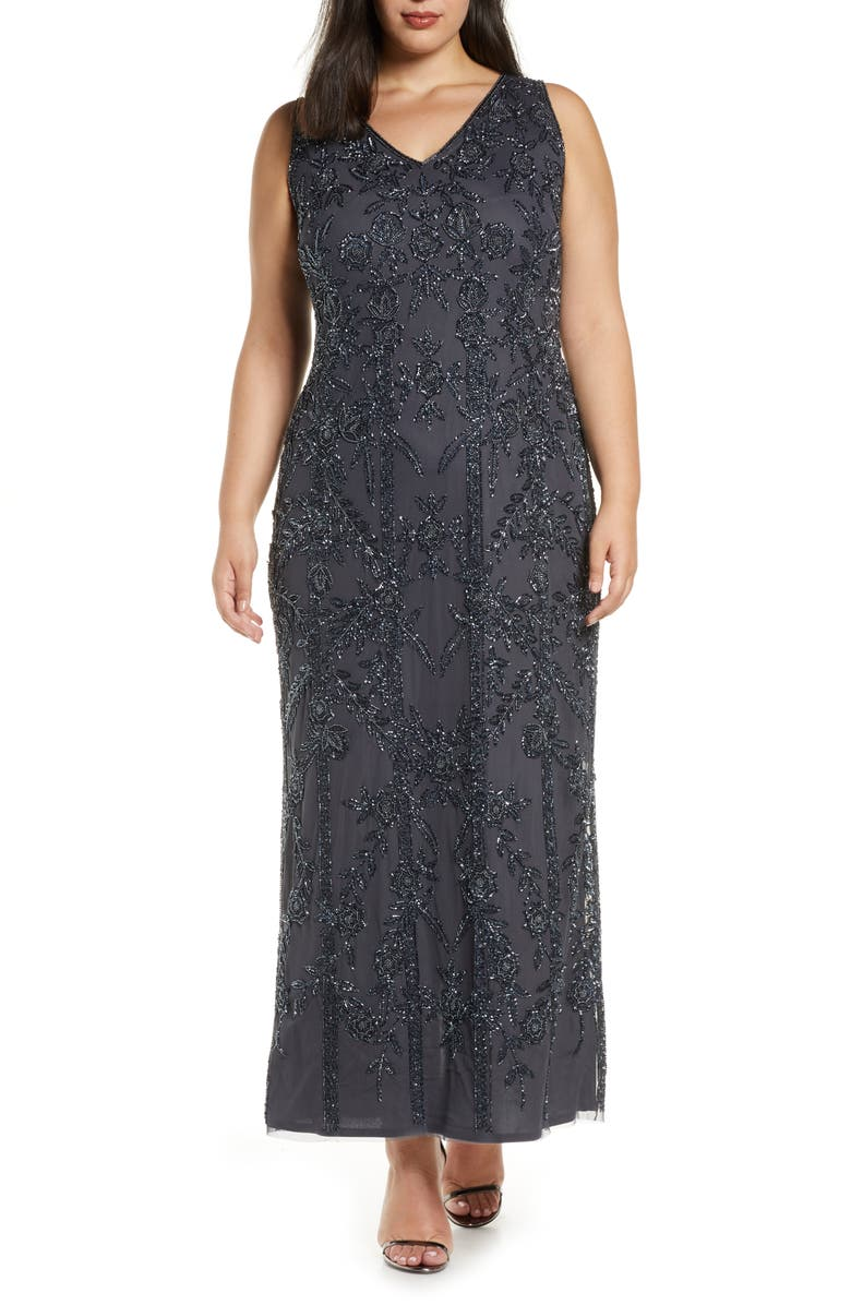 PISARRO NIGHTS Beaded Mesh Gown, Main, color, SLATE