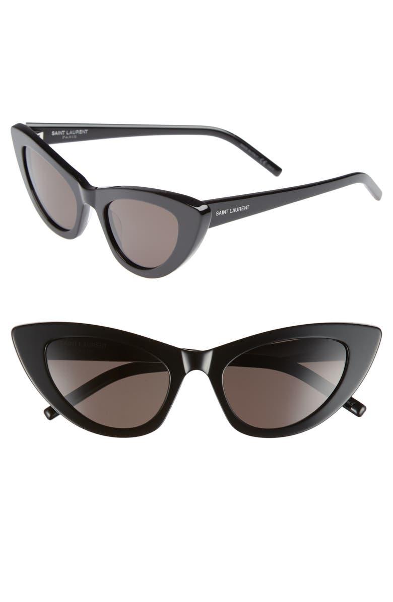 SAINT LAURENT Lily 52mm Cat Eye Sunglasses, Main, color, 001