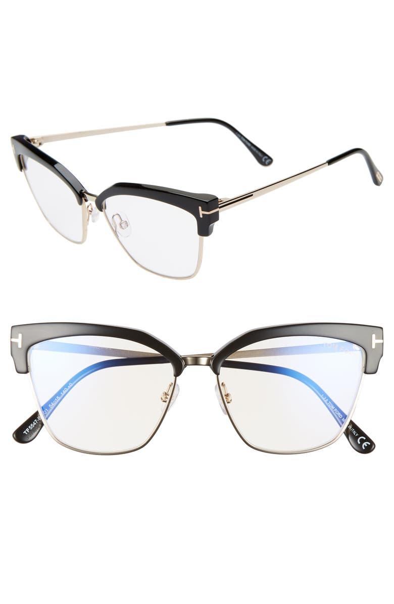 TOM FORD 54mm Blue Light Blocking Glasses, Main, color, SHINY BLACK/ ROSE GOLD