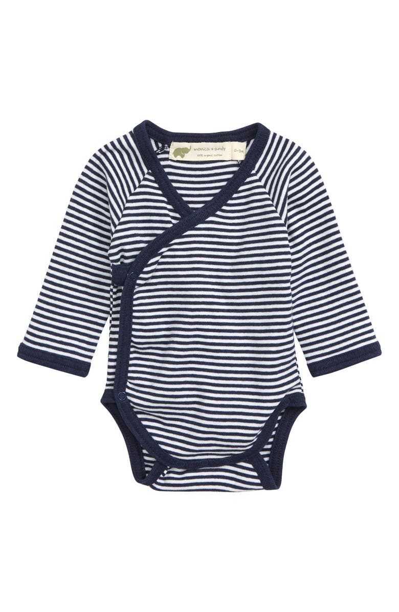 MONICA + ANDY Lucky Stripe Organic Cotton Wrap Bodysuit, Main, color, NAVY STRIPE