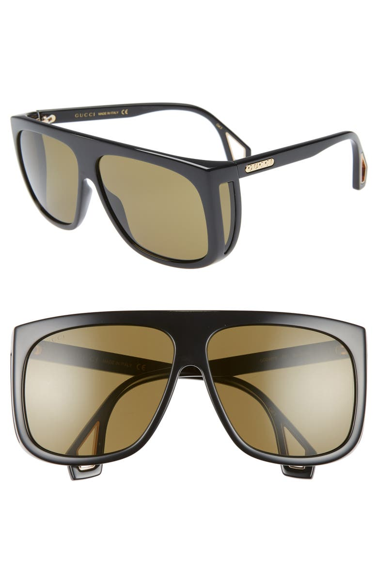 GUCCI 62mm Navigator Sunglasses, Main, color, BLACK/ GREEN