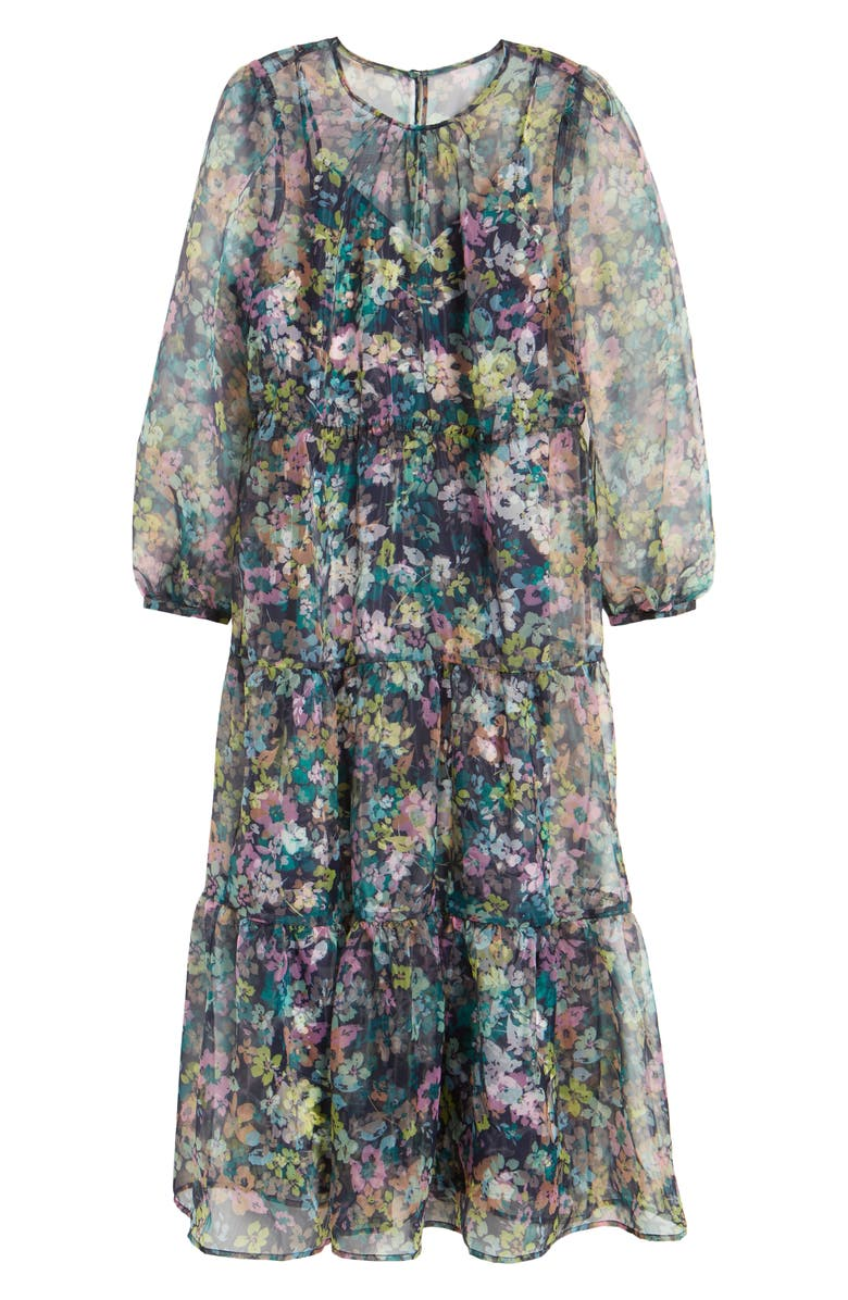 HALOGEN<SUP>®</SUP> x Atlantic-Pacific Long Sleeve Floral Sheer Tiered Maxi Dress, Main, color, 410
