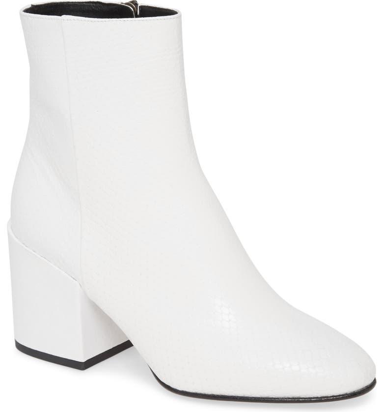 DRIES VAN NOTEN Snake Embossed Block Heel Bootie, Main, color, WHITE