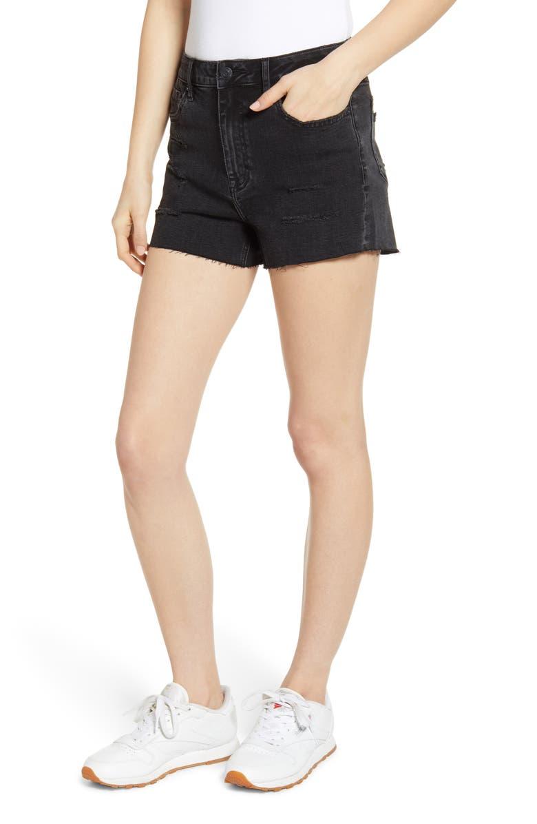 VIGOSS High Waist Distressed Denim Mom Shorts, Main, color, 001