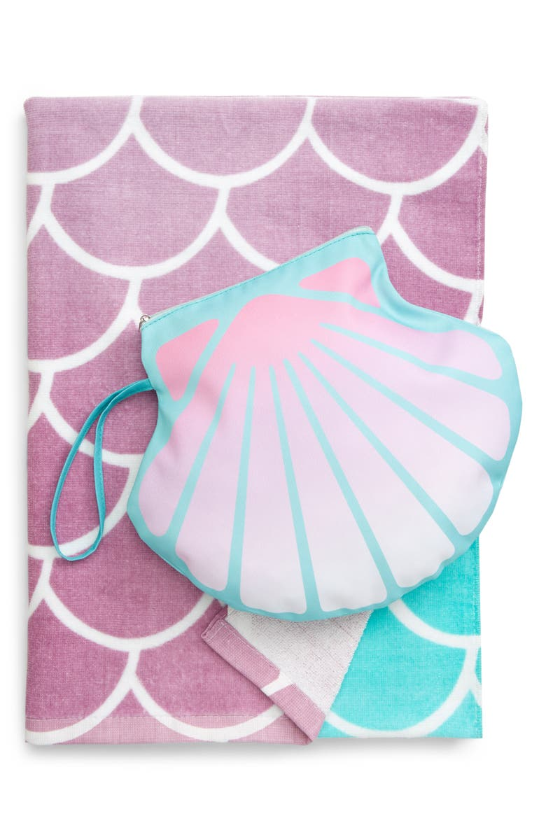 CAPELLI NEW YORK Seashell Beach Towel & Zip Pouch Set, Main, color, MINT