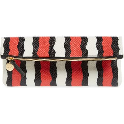 Clare V. Snakeskin Embossed Leather Clutch - Red