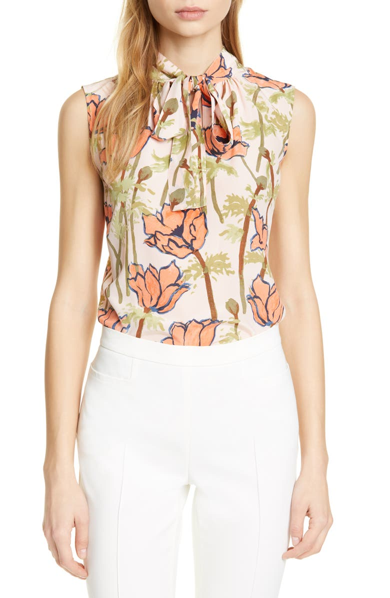 Floral Print Tie Neck Silk Blouse by Tory Burch