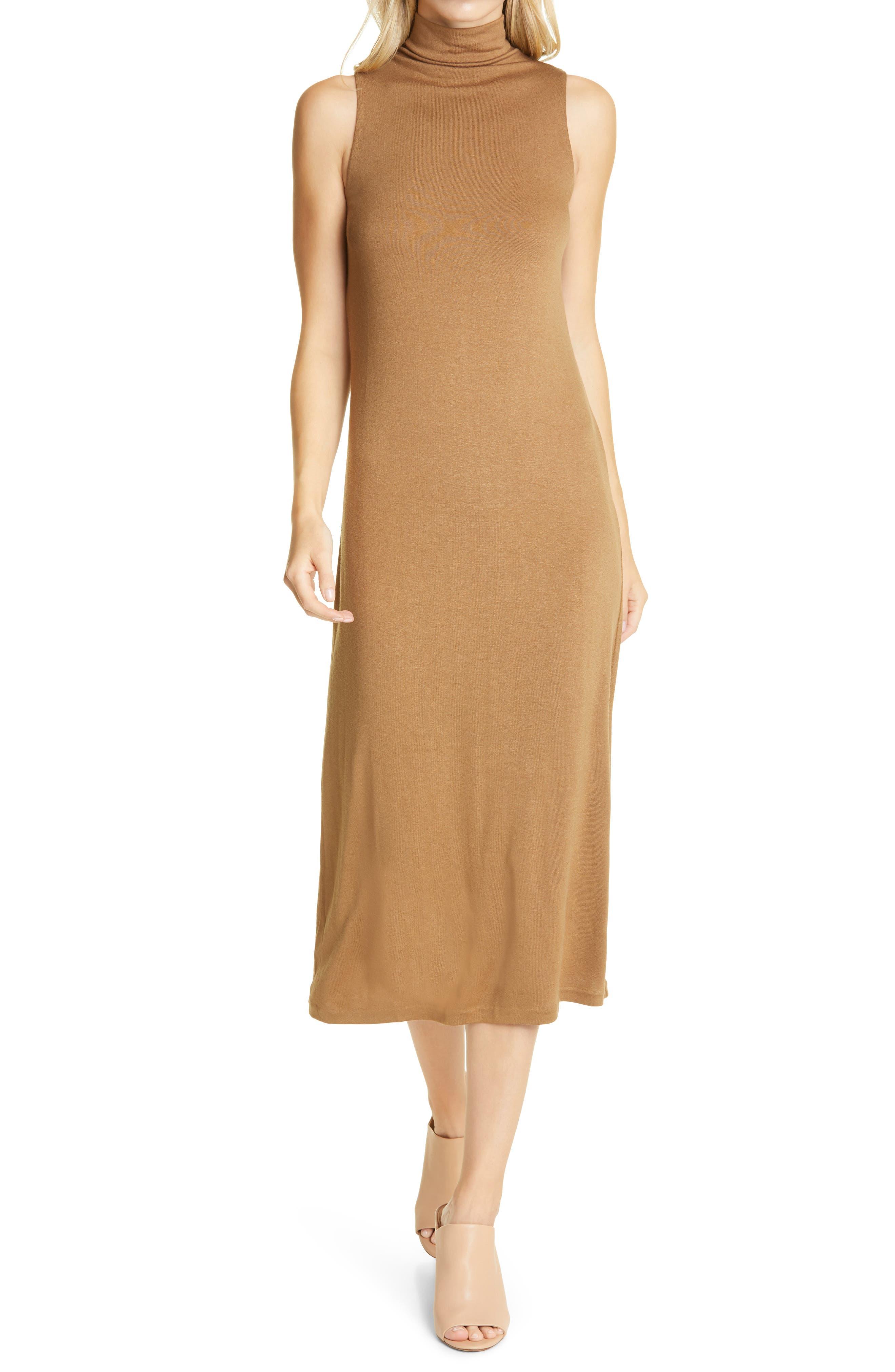 Vince Mock Neck Sleeveless Midi Dress | Nordstrom