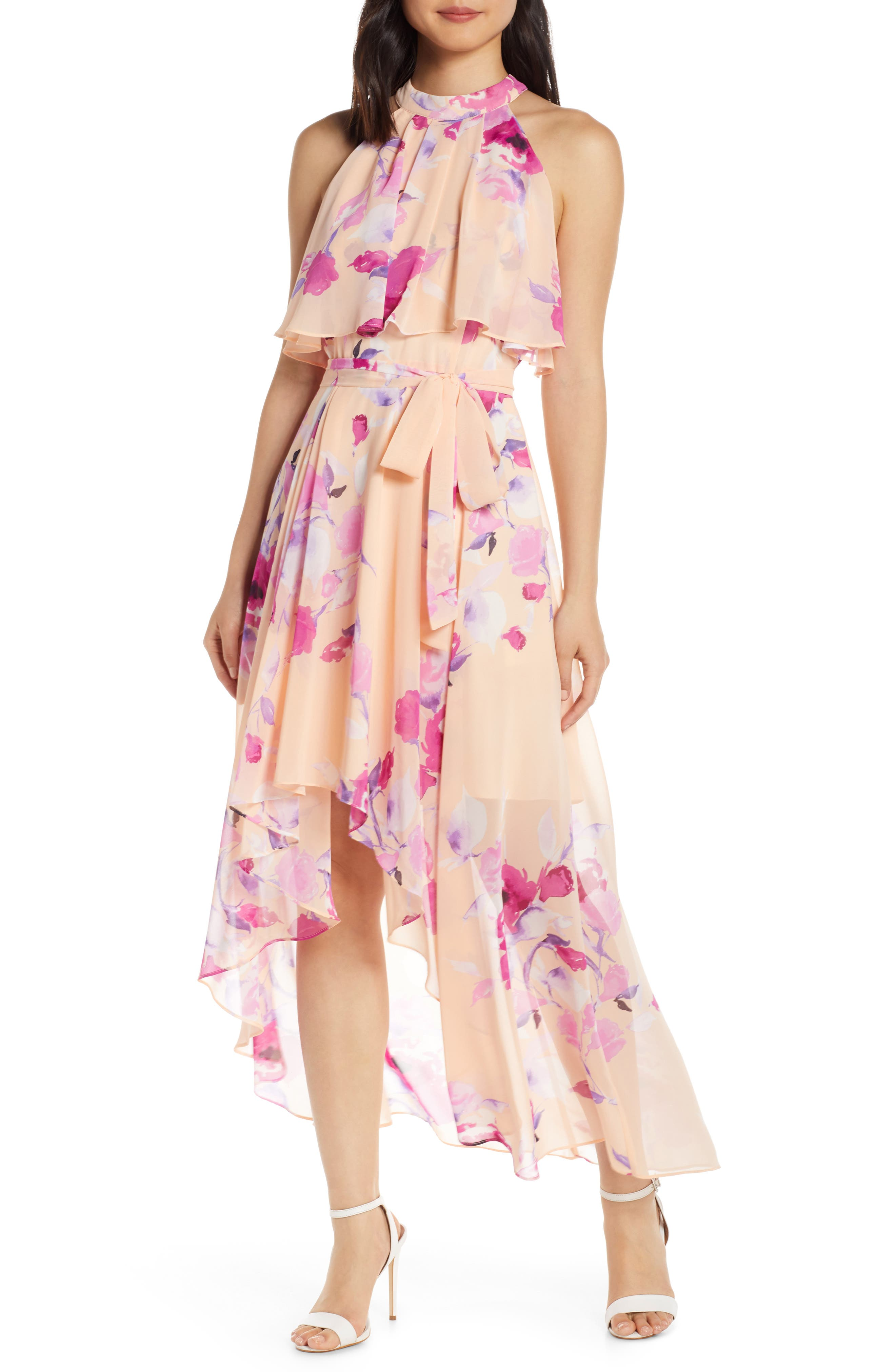 ,                             Halter High/Low Midi Dress,                             Main thumbnail 1, color,                             BLUSH