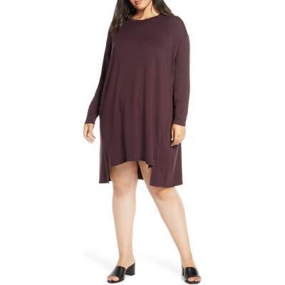 Plus Size Eileen Fisher Long Sleeve Drop Tail Hem Shift Dress, Purple