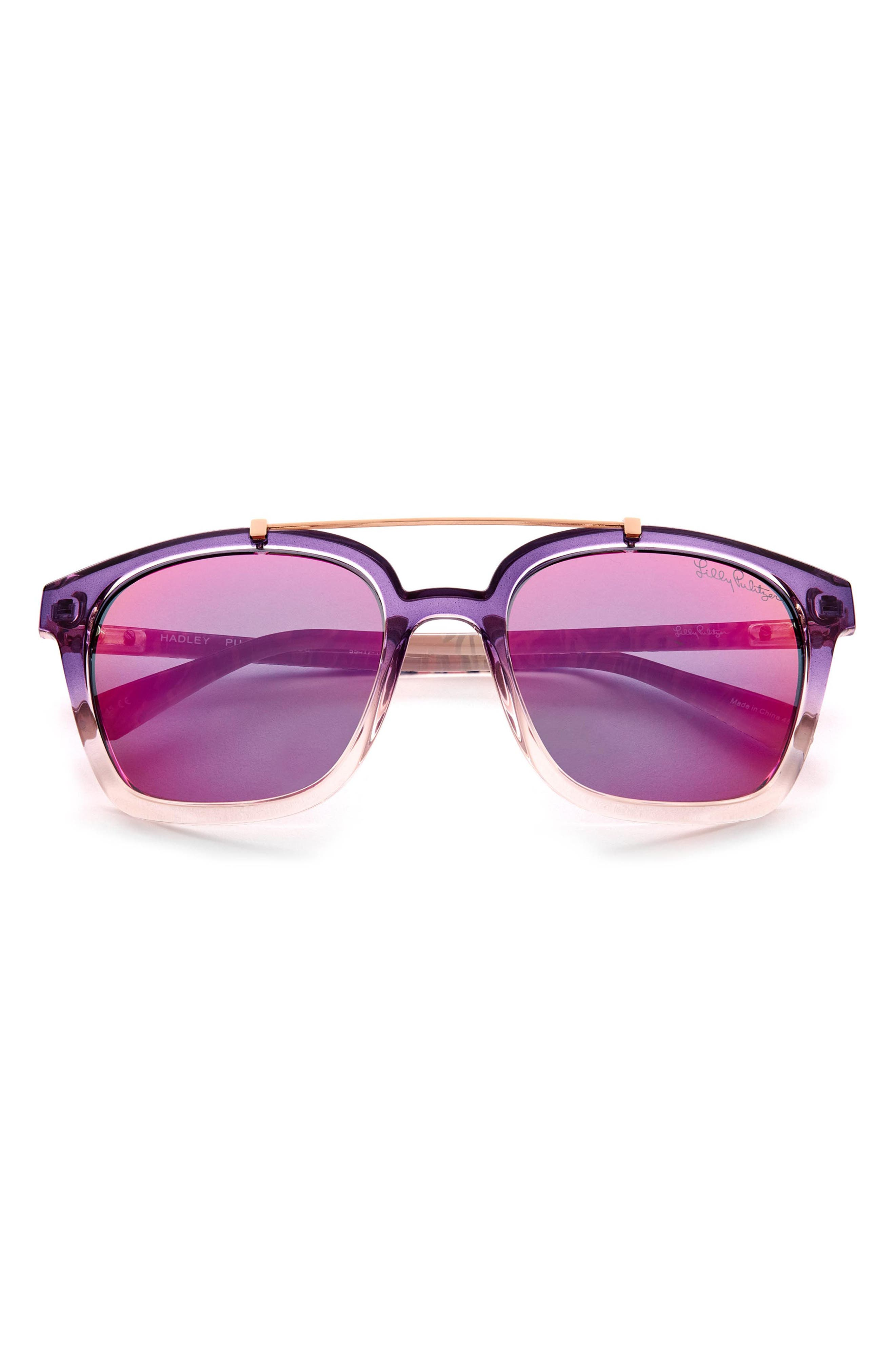 Women's Lilly Pulitzer 54mm Polarized Aviator Sunglasses