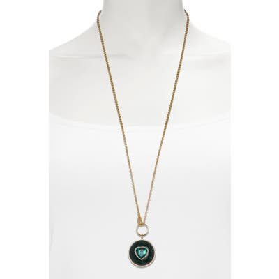 Sole Society Heart Medallion Long Pendant Necklace