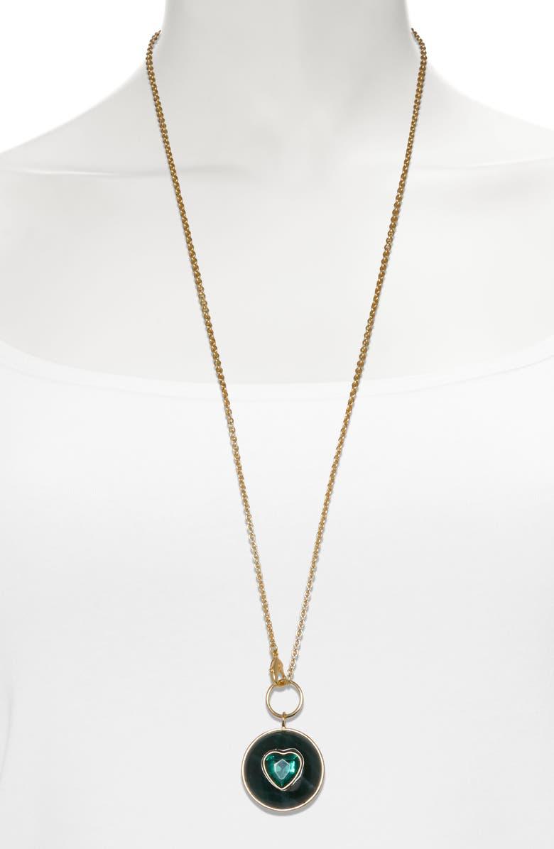 SOLE SOCIETY Heart Medallion Long Pendant Necklace, Main, color, 12K GOLD/GRN AVENTUR/EMERALD