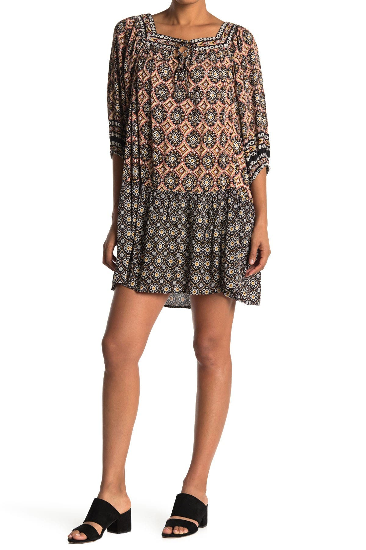 Image of Angie Square Neck Patterned Tent Dress