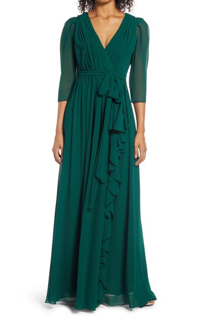 Badgley Mischka Wrap-effect Ruffled Chiffon Gown In Dark Emerald