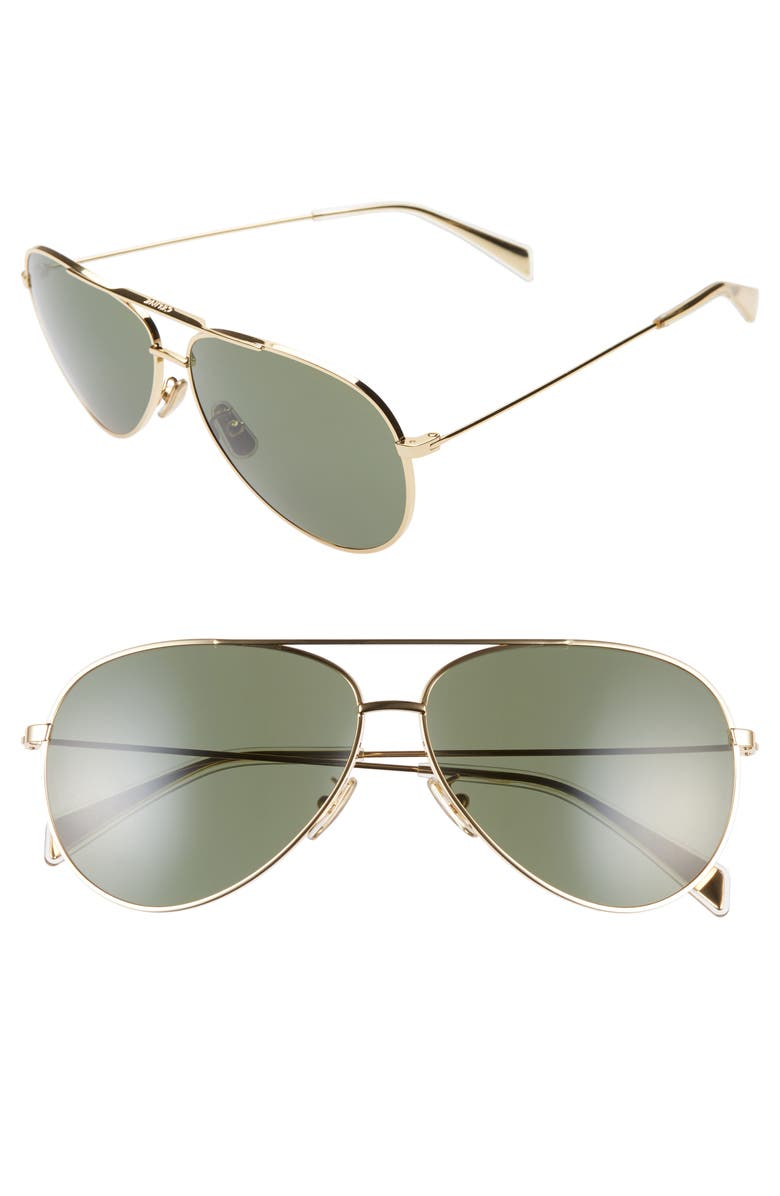 CELINE 61mm Aviator Sunglasses, Main, color, SHINY GOLD/ GREEN