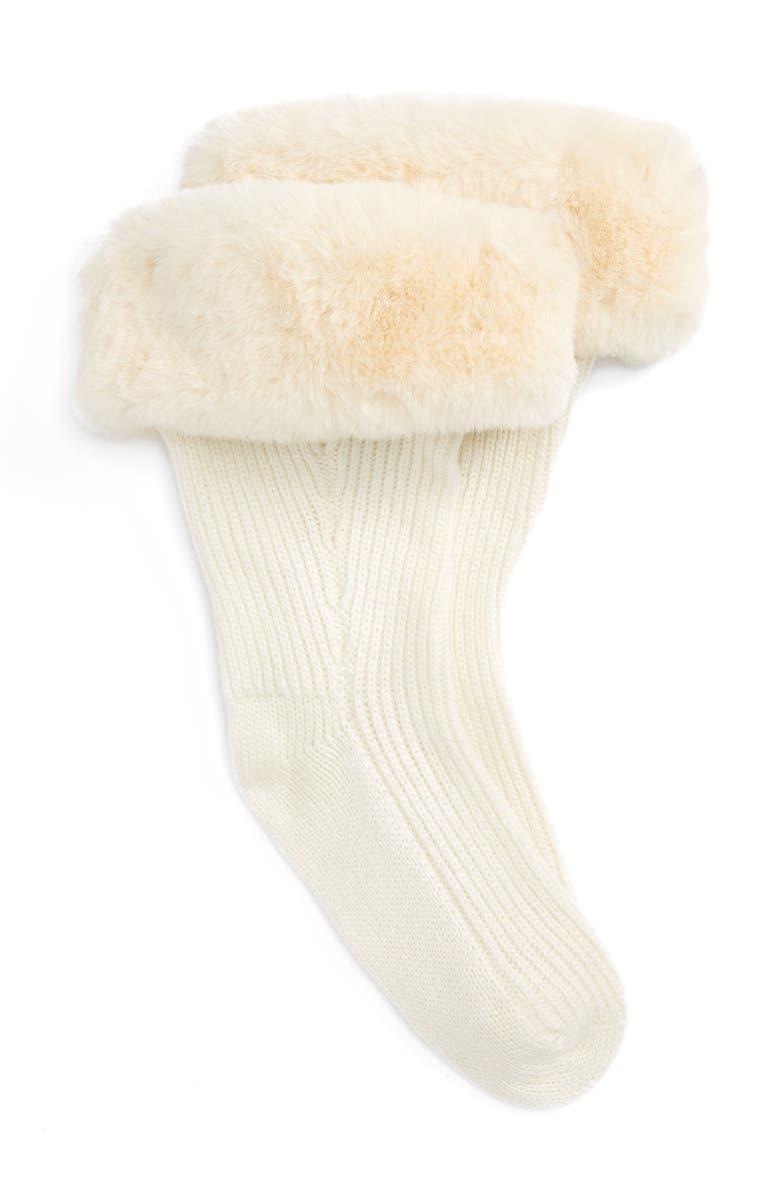 UGG<SUP>®</SUP> Rain Boot Socks with Faux Fur Cuff, Main, color, CREAM WOOL