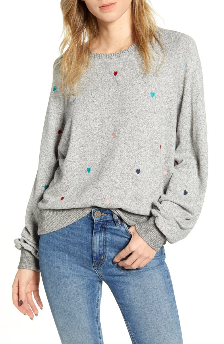 RAILS Mika Heart Embroidery Sweatshirt, Main, color, MELANGE GREY RAINBOW HEARTS