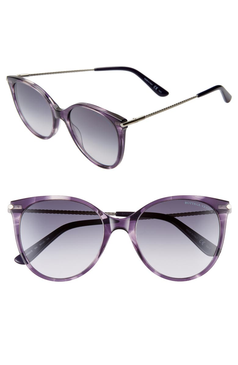 BOTTEGA VENETA 54mm Round Cat Eye Sunglasses, Main, color, MELANGE VIOLET/ BLUE