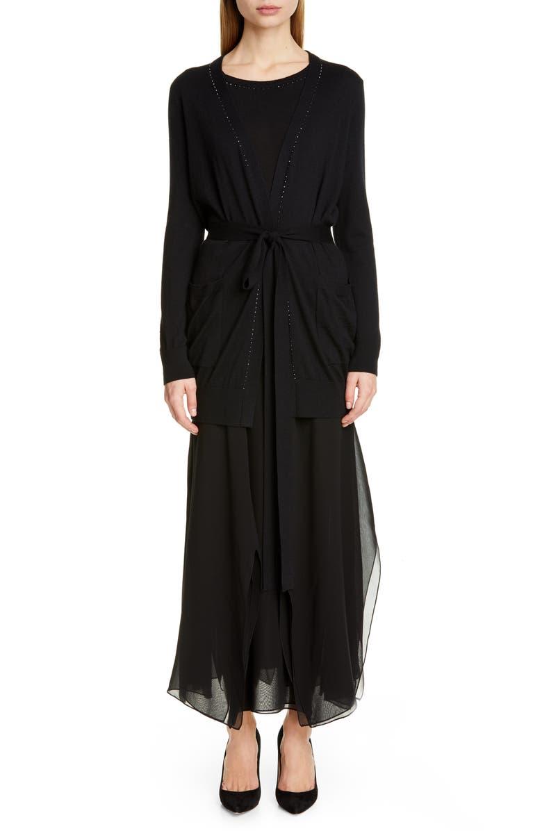 MAX MARA Margie Silk Chiffon Midi Skirt, Main, color, BLACK