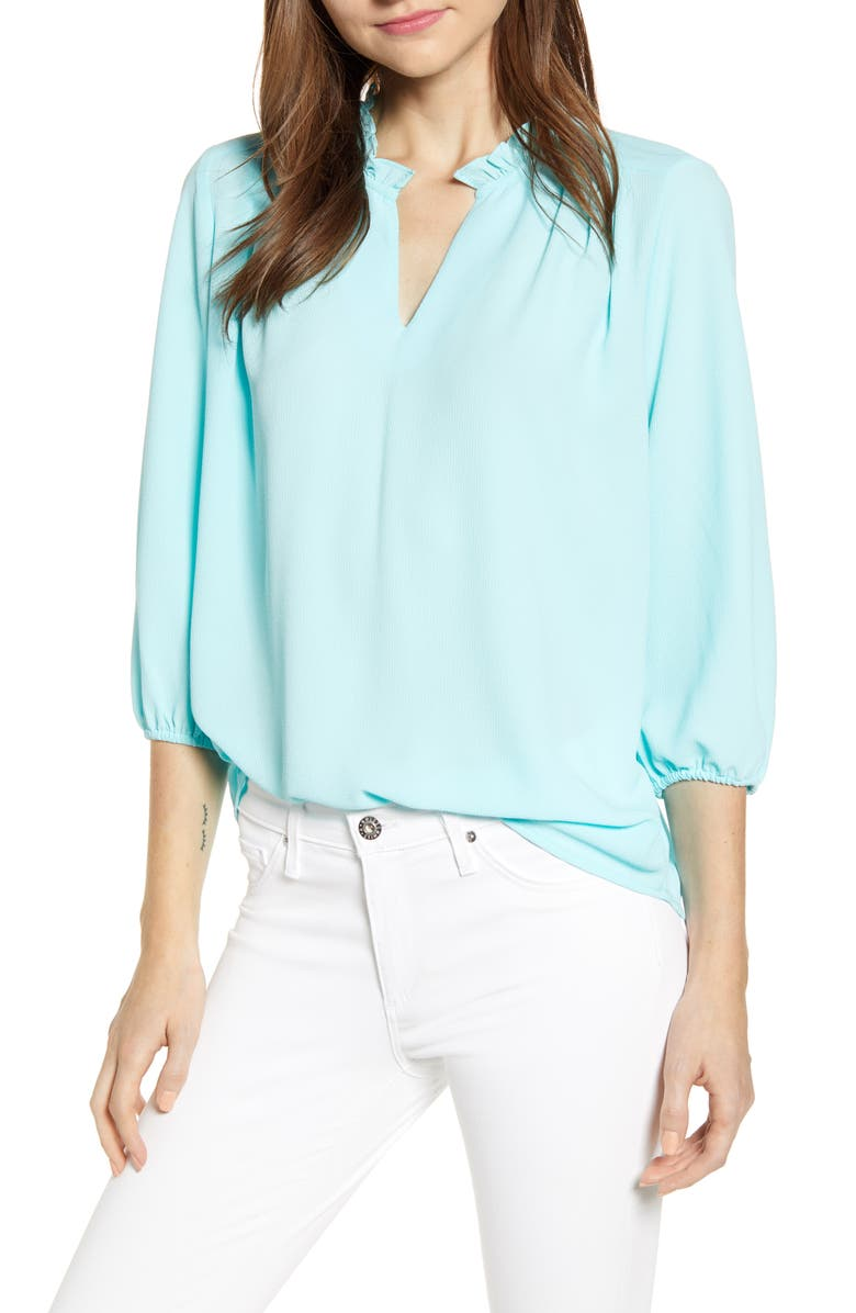 GIBSON x Living in Yellow Tulip Split Neck Top, Main, color, 360