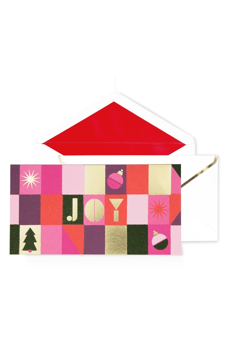 KATE SPADE NEW YORK joy set of 10 holiday boxed cards, Main, color, RED