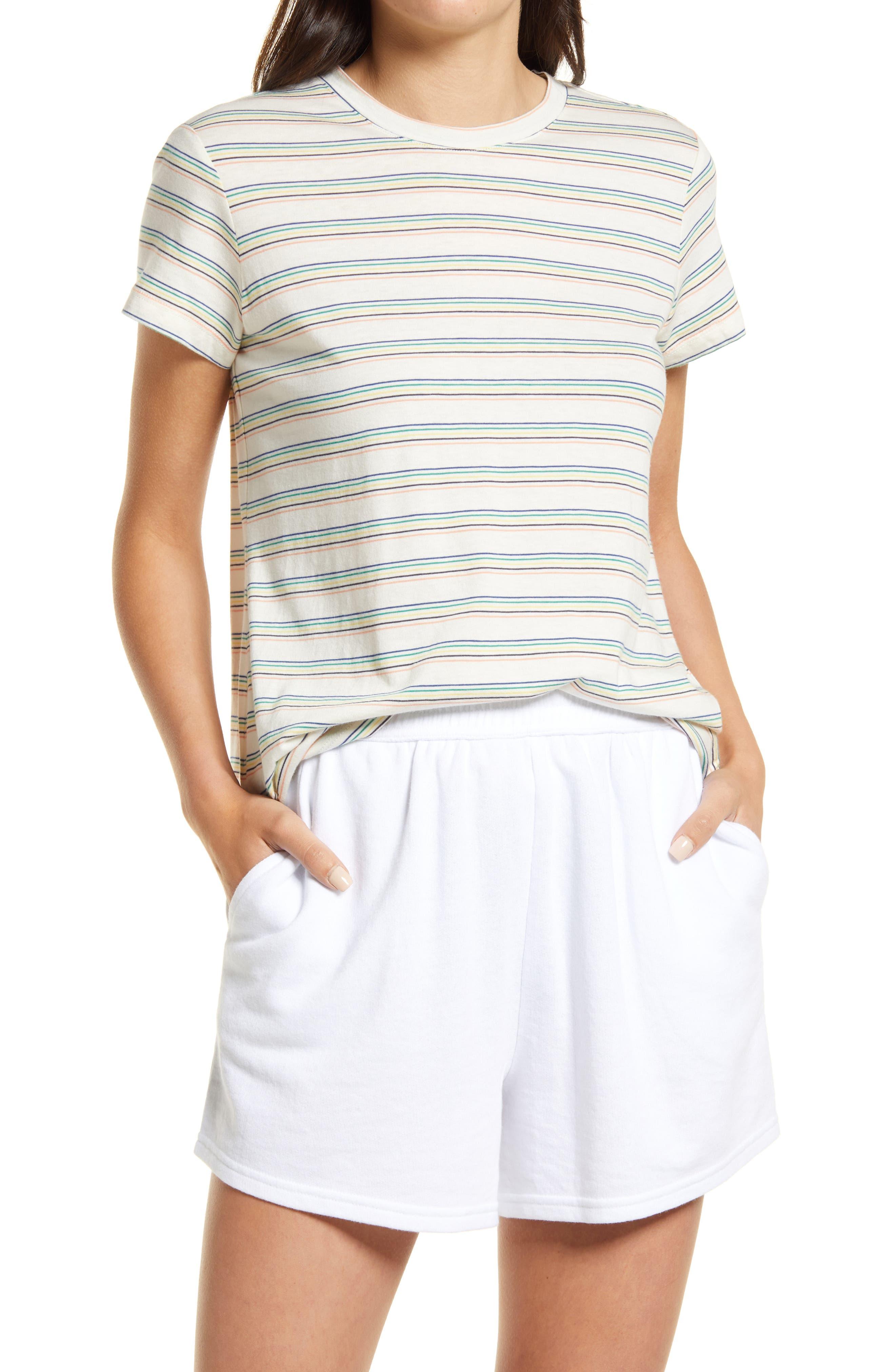 Swing Stripe Crewneck Cotton Blend T-Shirt