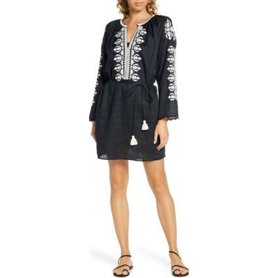 Tory Burch Embroidered Linen Cover-Up Tunic, Black