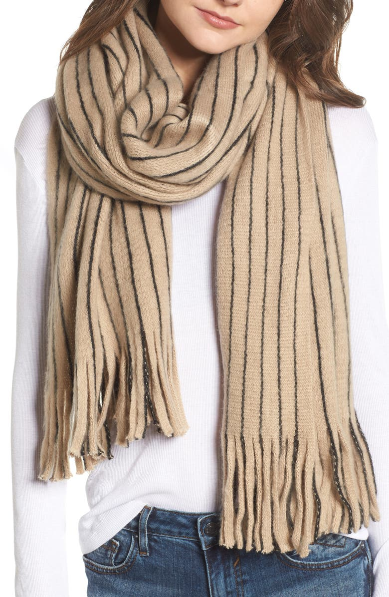 LA DOUBLE 7 Fringed Stripe Scarf, Main, color, 250