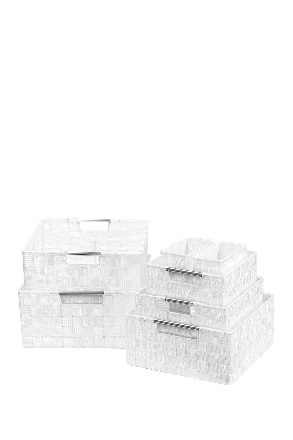 Image of Sorbus White Weave 7-Piece Basket Set