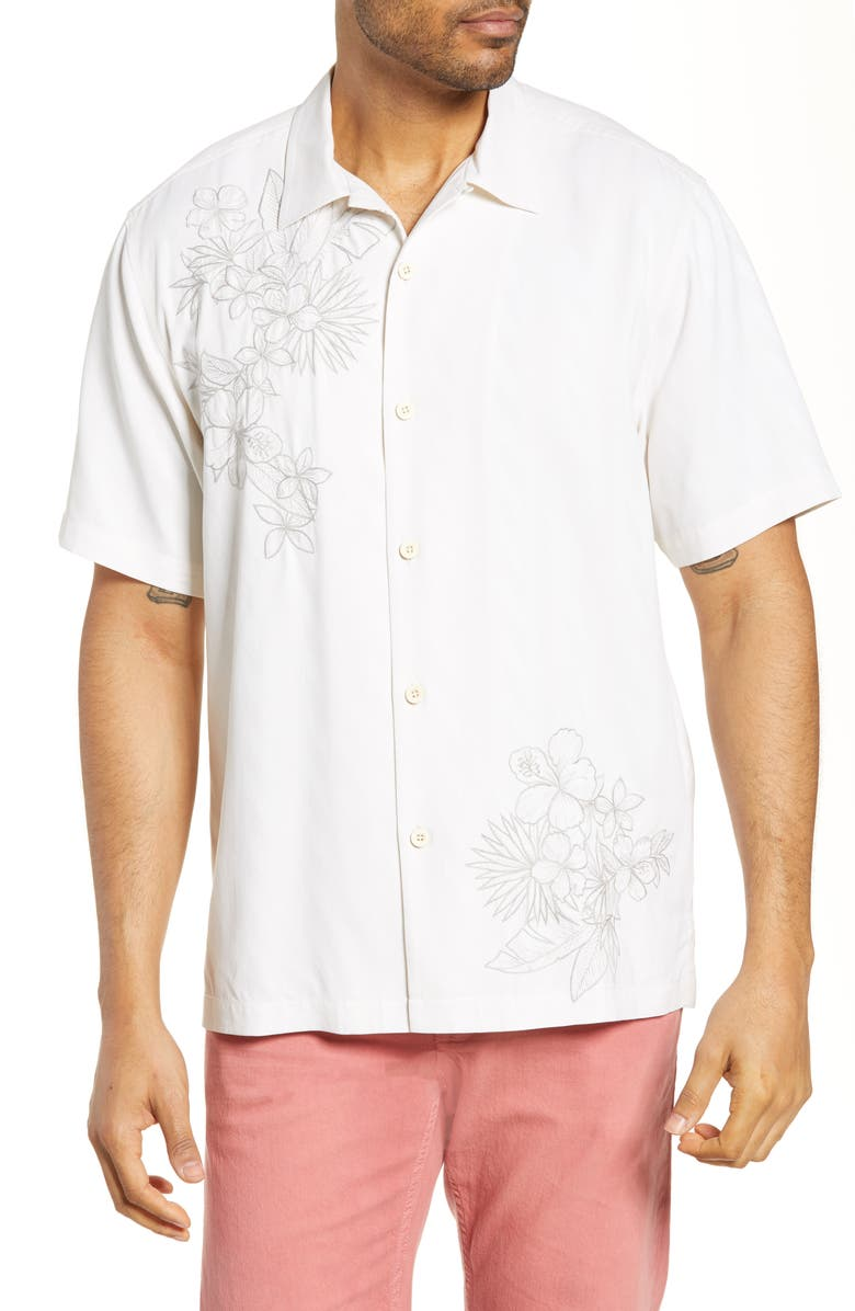 TOMMY BAHAMA Vicenco Vines Classic Fit Embroidered Silk Button-Up Camp Shirt, Main, color, 100