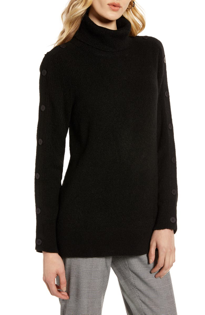 Button Sleeve Turtleneck Sweater by Halogen®