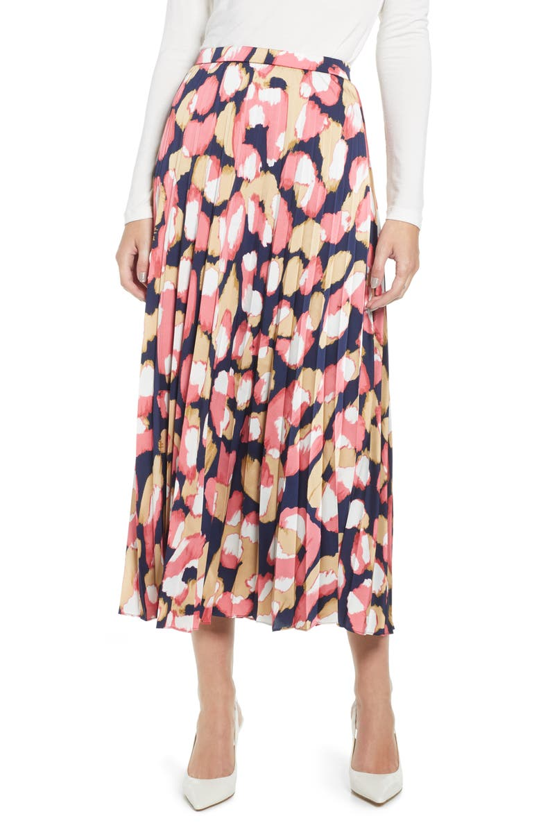 J.CREW Pleated Midi Skirt, Main, color, NAVY CORAL