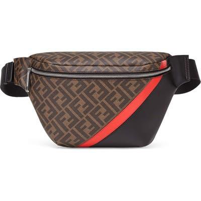 Fendi Coated Canvas & Faux Leather Belt Bag - Brown