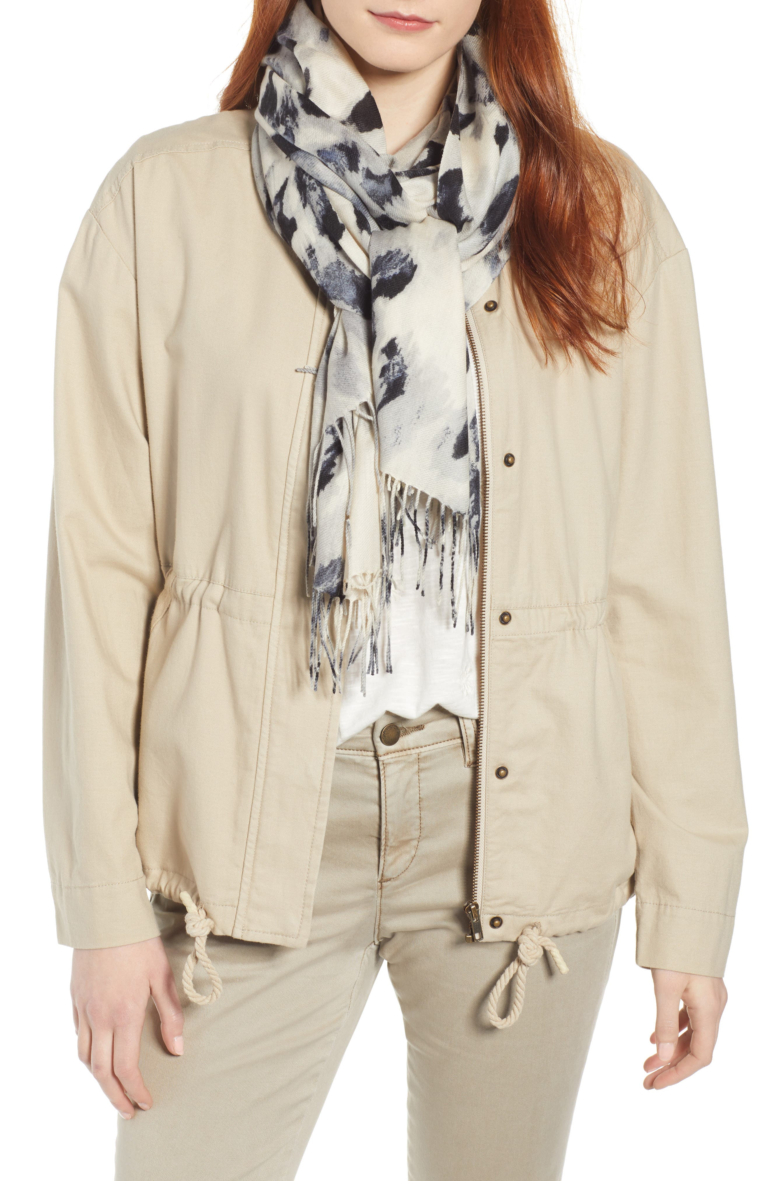 ,                             Tissue Print Wool & Cashmere Wrap Scarf,                             Main thumbnail 1, color,                             GREY FEATHERED CAT