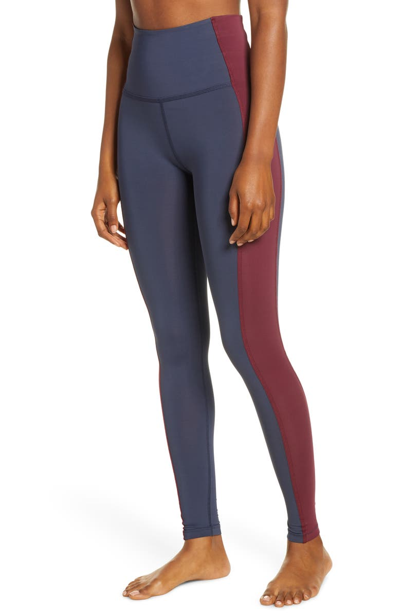 BEYOND YOGA Frame High Waist Leggings, Main, color, NOCTURNAL NAVY-BURGUNDY