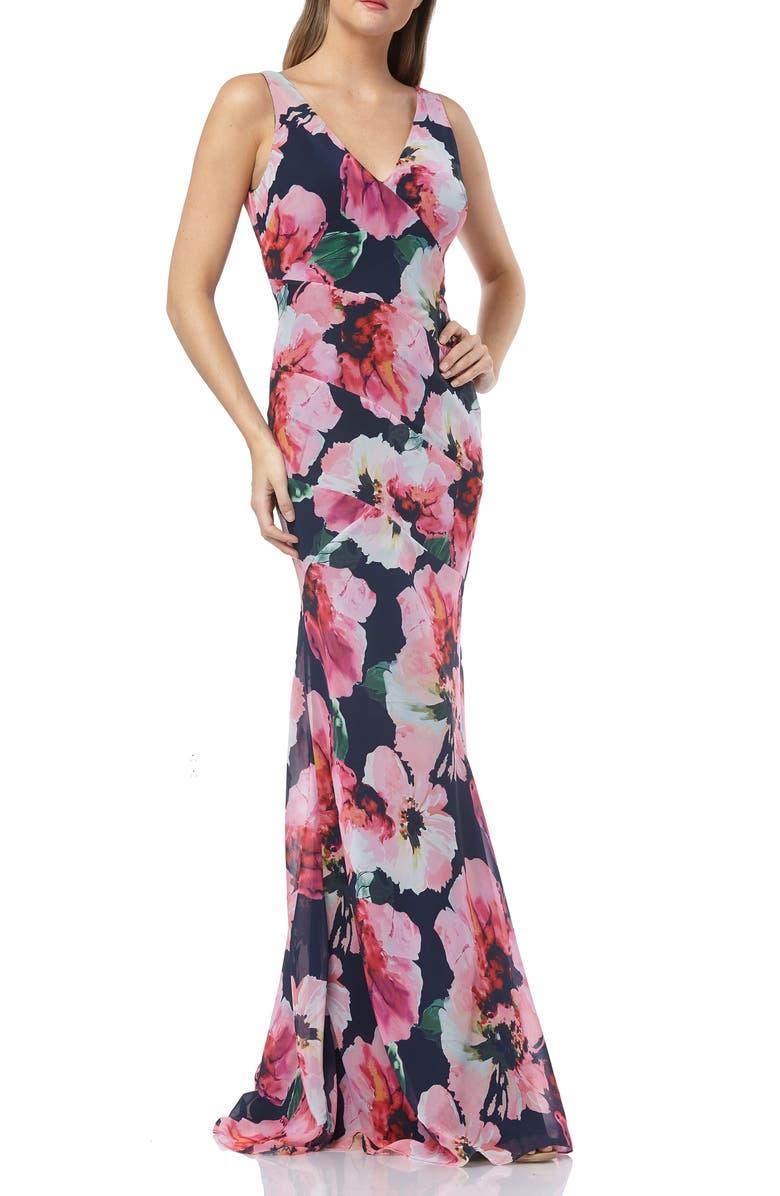 CARMEN MARC VALVO INFUSION Floral Chiffon Mermaid Gown, Main, color, NAVY/ FUCHSIA