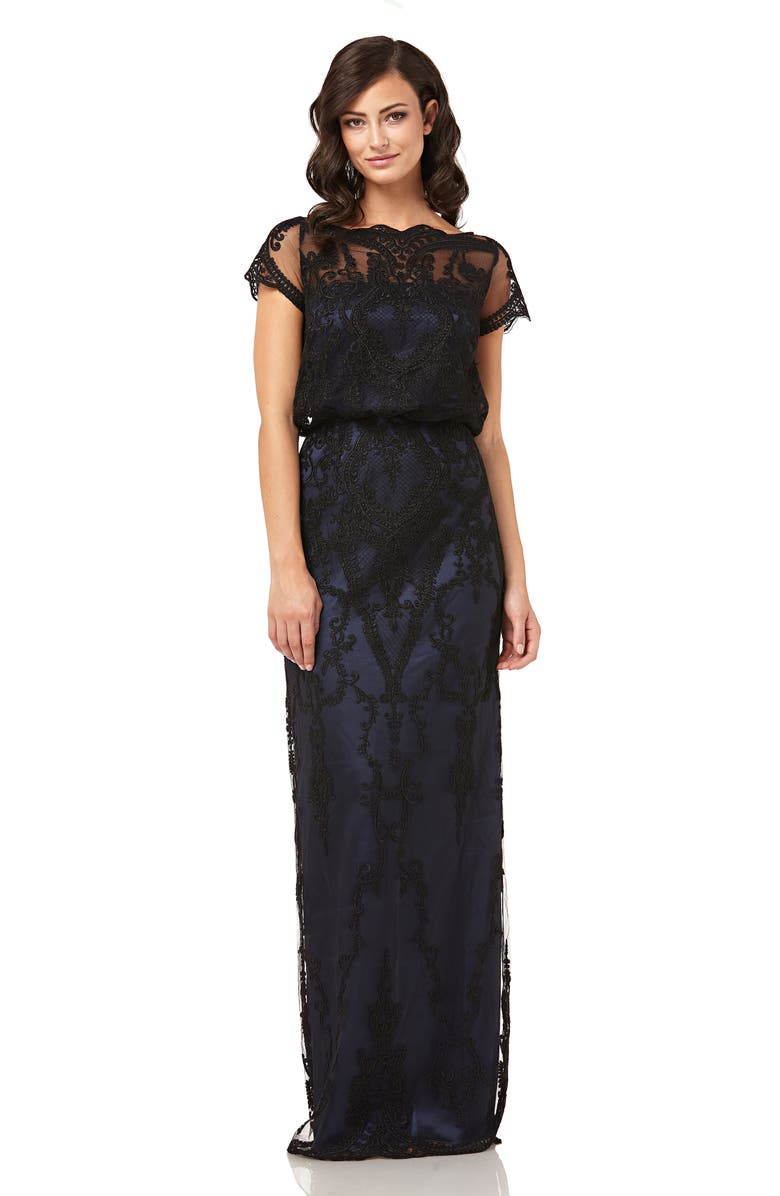 1920s Party Dresses, Great Gatsby Gowns, Prom Dresses Womens Js Collections Scallop Embroidered Blouson Evening Dress Size 6 - Black $298.00 AT vintagedancer.com