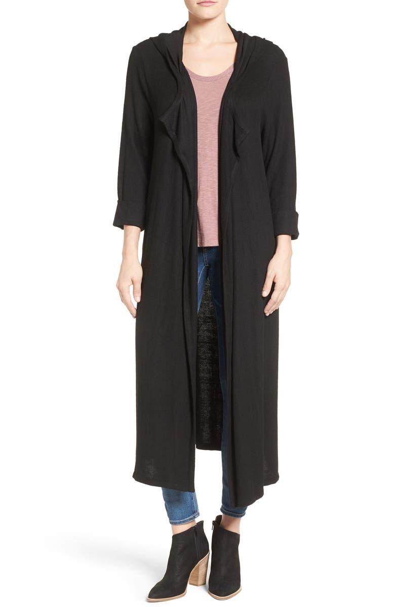 PLEIONE Hooded Side Slit Long Cardigan, Main, color, 001