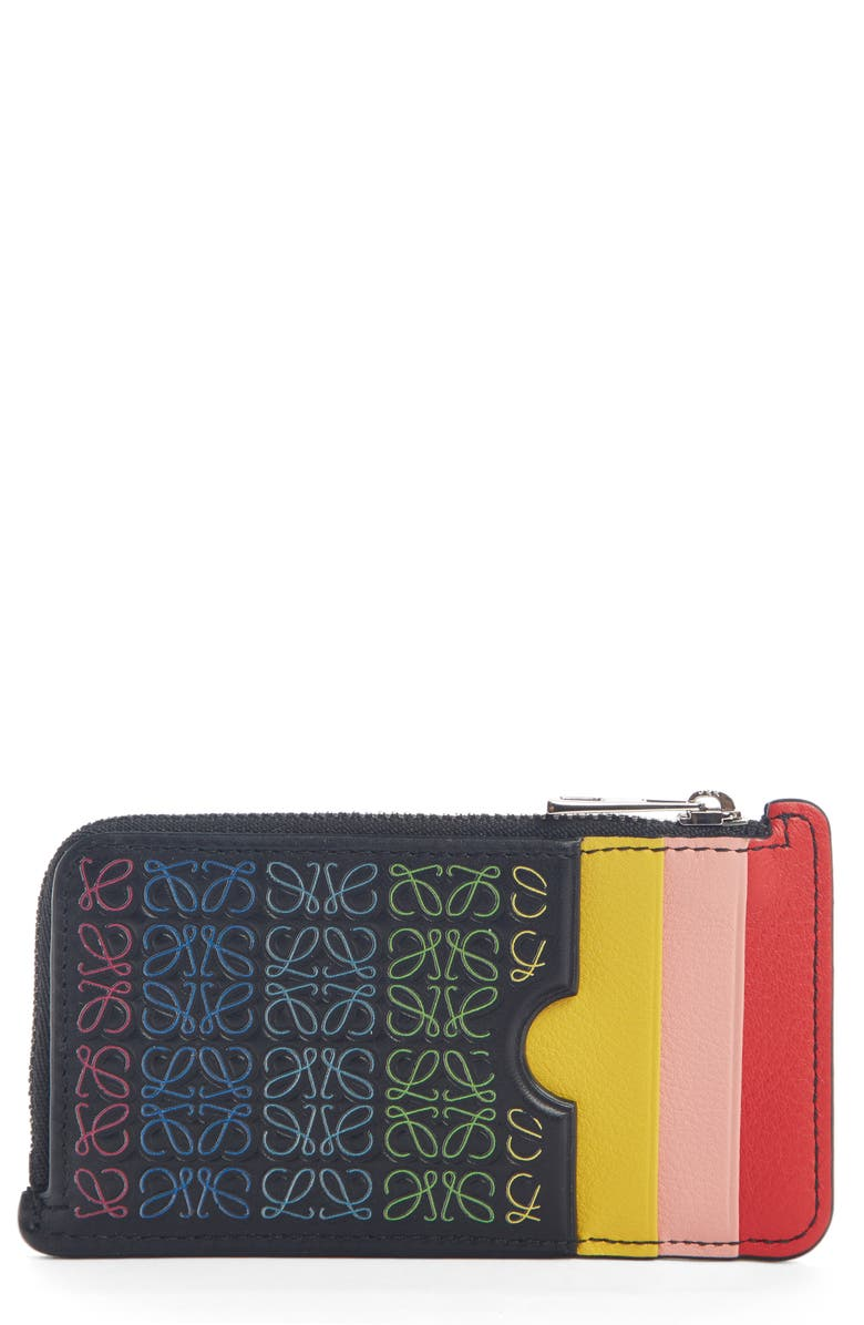 LOEWE Rainbow Logo Leather Card Case, Main, color, 001