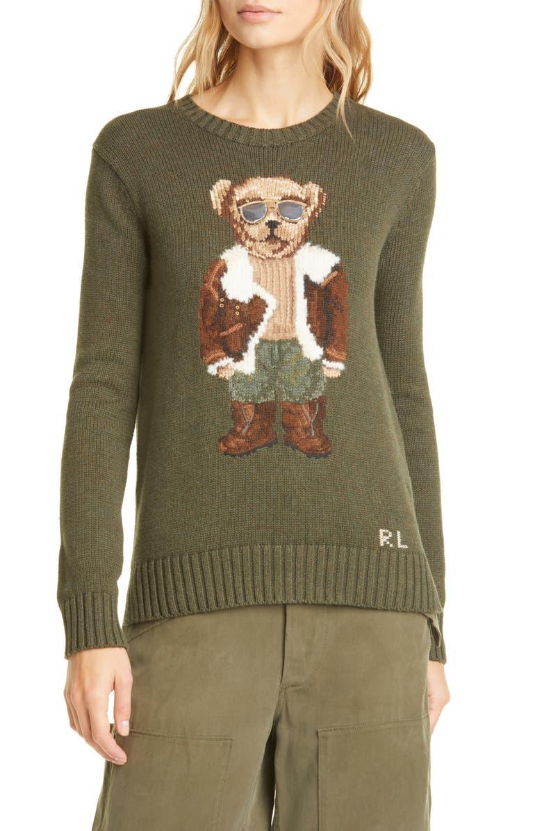 POLO RALPH LAUREN Aviator Bear Cotton Sweater, Main, color, 310