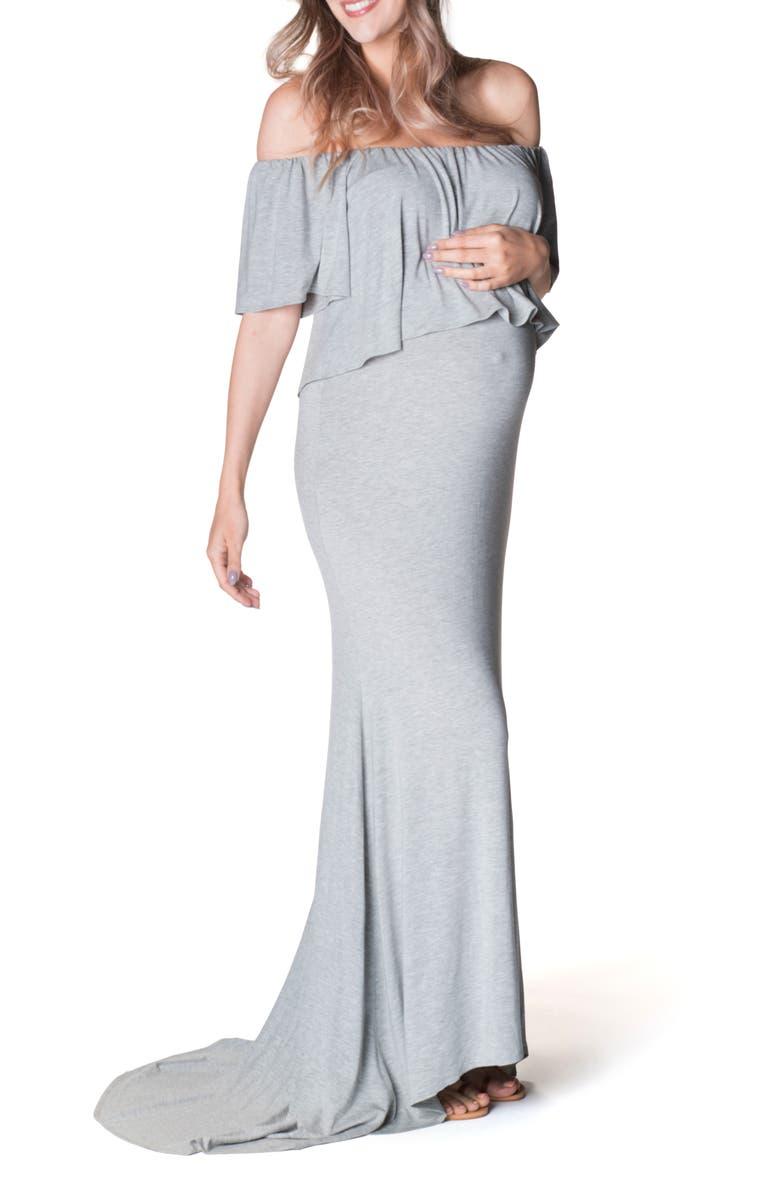 BUN MATERNITY Simply Stunning Off the Shoulder Maternity Maxi Dress, Main, color, 030