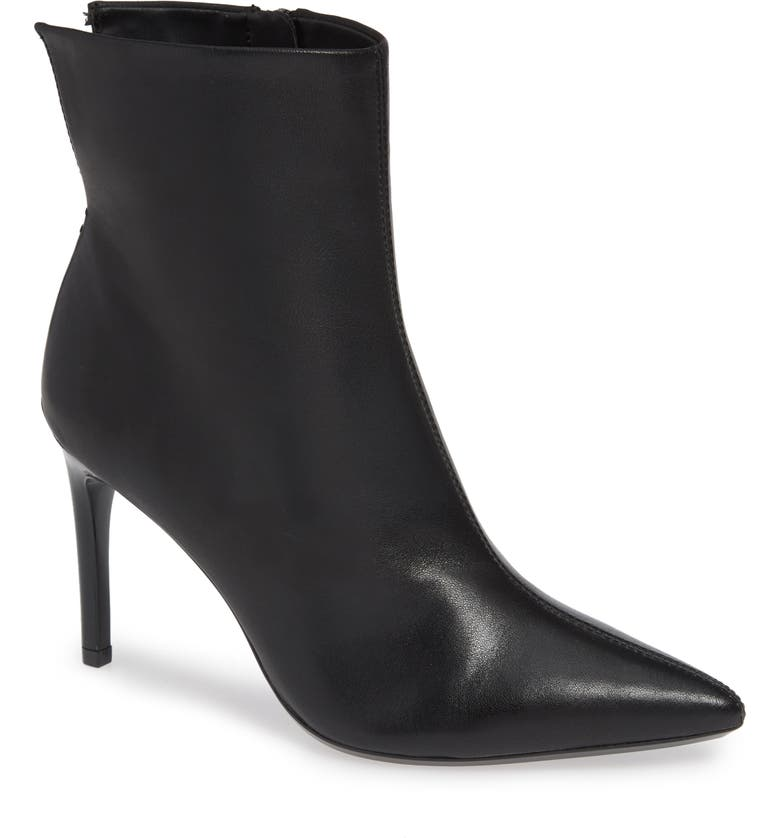 CALVIN KLEIN Revel Stiletto Bootie, Main, color, BLACK LEATHER